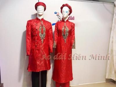 Cặp áo dài cưới nam - nữ đính họa tiết sang trọng
