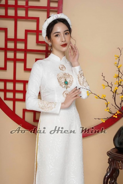 Áo dài cưới cặp màu trắng Gấm cao cấp