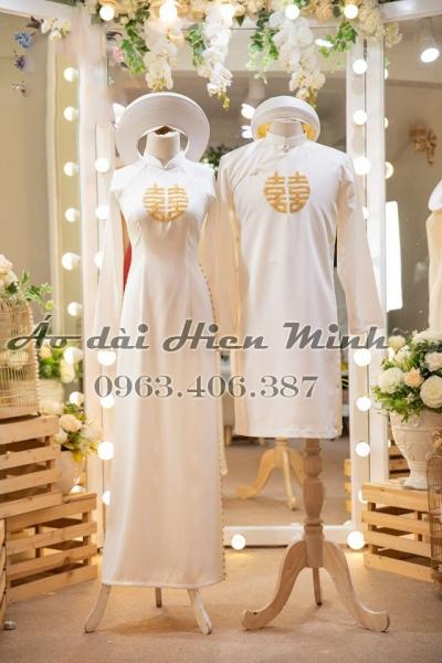 Áo dài cưới cặp màu trắng kết phale song hỷ