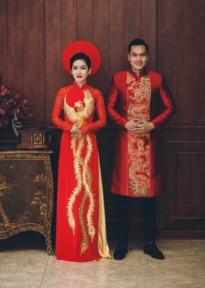 Áo dài cưới cặp họa tiết Long Phụng