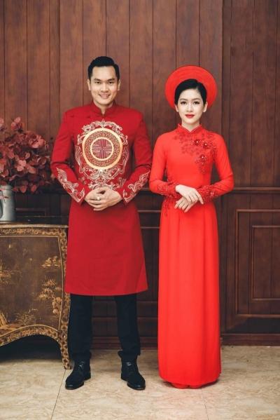 Áo dài cưới cách tân nam nữ song hỷ