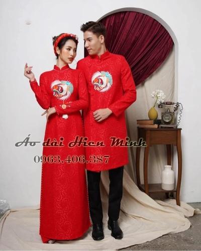 Áo dài cưới Gấm - áo dài cưới cặp đôi họa tiết thêu