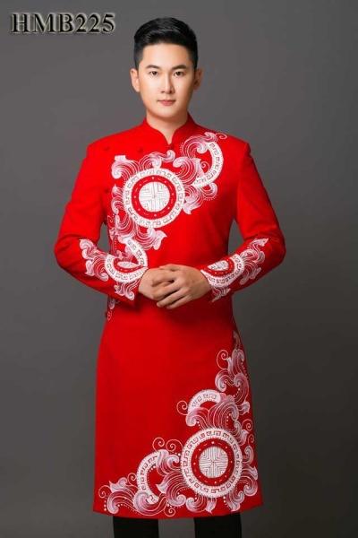 Áo dài nam cách tân màu đỏ họa tiết vets tay, thiết kế tay vest