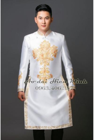 Áo dài cách tân nam màu trắng  họa tiết vẽ tay cao cấp
