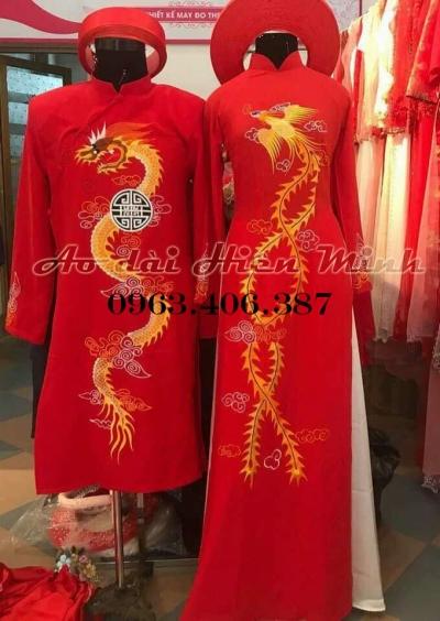 Áo dài cưới truyền thống nam nữ họa tiết thêu tay