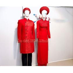 Cặp áo dài cưới đính họa tiết tinh tế