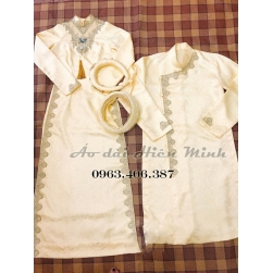 ÁO DÀI CƯỚI CẶP - áo dài cưới màu vàng