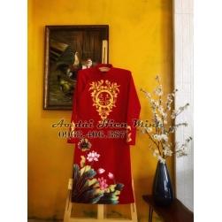 Áo dài cưới truyền thống họa tiết hoa sen