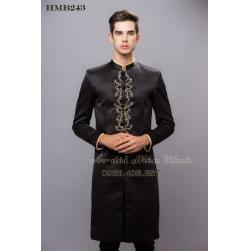 Áo dài nam cách tân nam màu đen đơn giản, nam tính