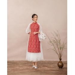 Áo dài cách tân hoa nhí phối chân váy