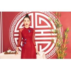 Áo dài cách tân nữ màu đỏ kết hoa nổi duyên dáng