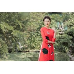 Áo dài cách tân nữ họa tiết hoa sen nổi - màu cam