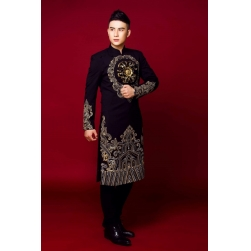 Áo dài cách tân nam màu đen họa tiết vẽ tay cao cấp