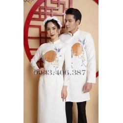 Áo dài cặp đôi nam nữ màu trắng họa tiết thêu tay