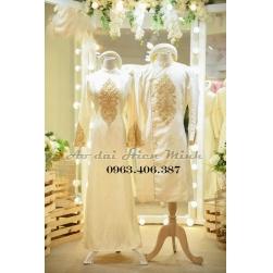 Áo dài cưới cặp Gấm sang trọng