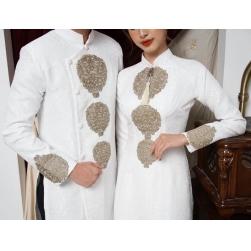 Áo dài cưới cặp màu trắng họa tiết đơn giản
