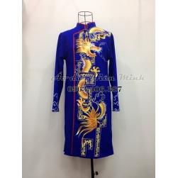 Áo dài nam cách tân Rồng vẽ cao cấp - Tặng kèm khăn xếp