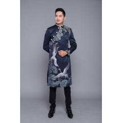 Áo dài nam cách tân họa tiết chim hạc ( áo vẽ hoặc thêu)
