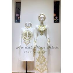Áo dài cưới truyền thống nam nữ  - Kết phale nổi