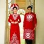 Áo dài cưới truyền thống màu đỏ họa tiết vẽ tay cao cấp